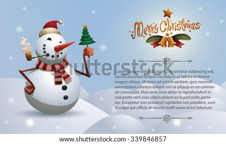 Christmas card with Christmas snowman in red christmas hat and green scarf smoking and holding a little christmas tree with gold star on top, vector - stock vector