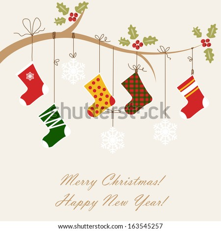 Christmas card with christmas socks - stock vector