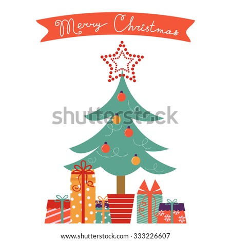 Christmas card with Christmas tree and gifts. Vector illustration - stock vector