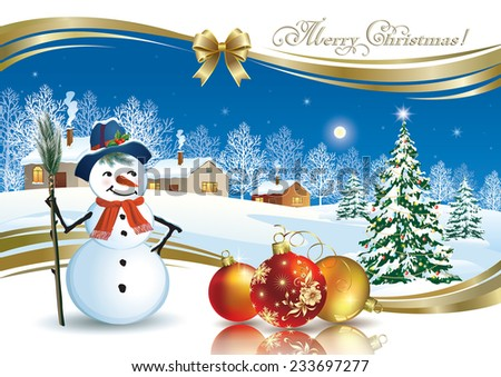 Christmas card with Christmas tree and snowman - stock vector