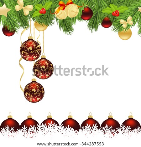 Christmas card with Christmas tree branches and balls. Vector illustration - stock vector