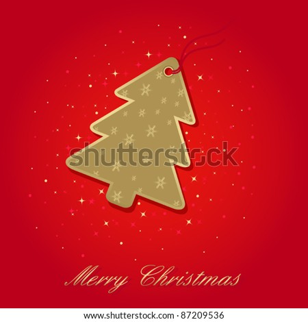 christmas card with christmas tree label on red, elements are in separate layers and grouped, easy to edit - stock vector