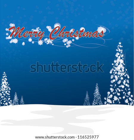 Christmas card with Christmas tree over  snowy magical night - stock vector