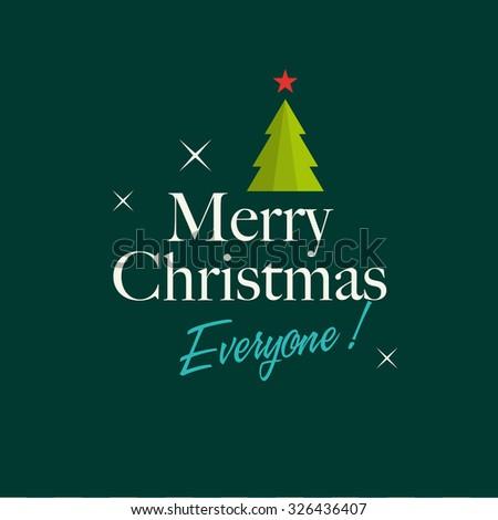 Christmas card with christmas tree, stars, and logo title. Editable vector design. - stock vector