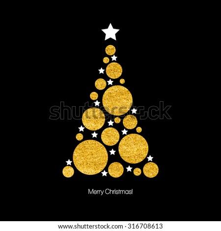 Christmas card with Christmas tree. Vector illustration  EPS 10 - stock vector