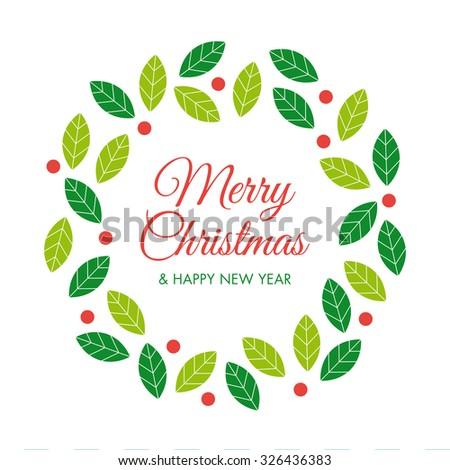 Christmas card with christmas wreath and logo Editable vector design. - stock vector