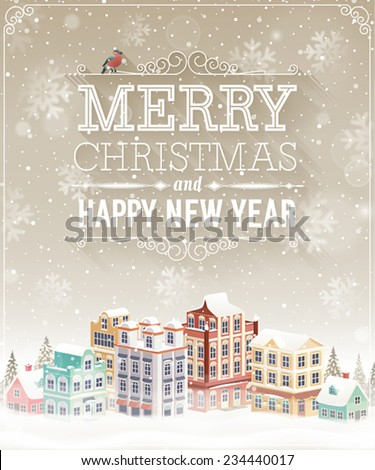 Christmas card with cityscape and snowfall. Vector illustration. - stock vector