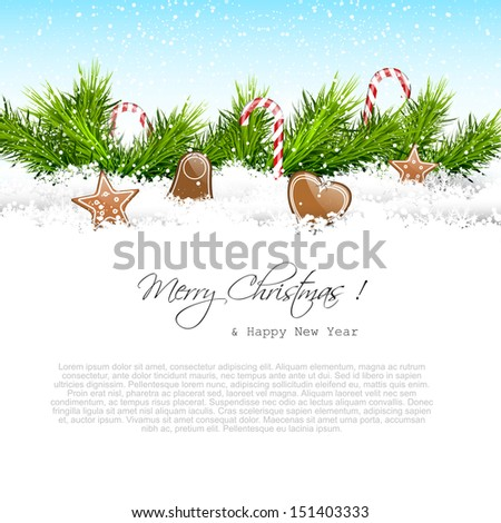 Christmas card with copyspace  - stock vector