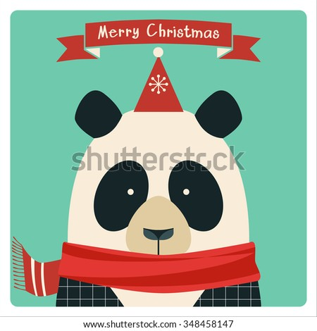 Christmas card with cute hipster panda. - stock vector