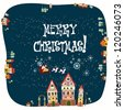 Christmas card with cute little town in winter - stock vector