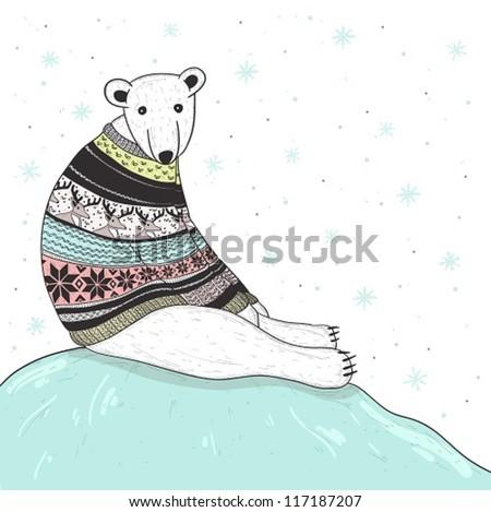 Christmas card with cute polar bear. Bear with fair isle style sweater. - stock vector