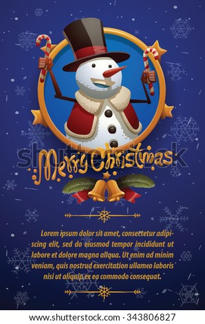 Christmas card with dark blue background with Christmas snowman in black tall hat and red jacket holding candies, vector - stock vector