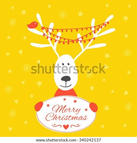 Christmas card with deer. Christmas greeting card template, vector Merry Christmas.  - stock vector