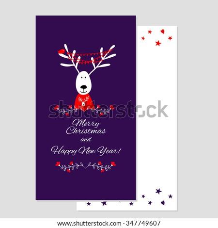Christmas card with deer. Christmas greeting card template, vector Merry Christmas and New Yea - stock vector