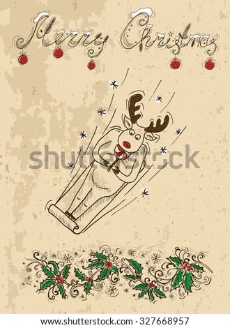 Christmas card with deer eating candy on sledges, vintage illustration with hand drawn elements - stock vector