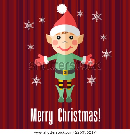 Christmas card with elf - stock vector
