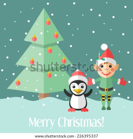 Christmas card with elf and penguin and fir tree - stock vector