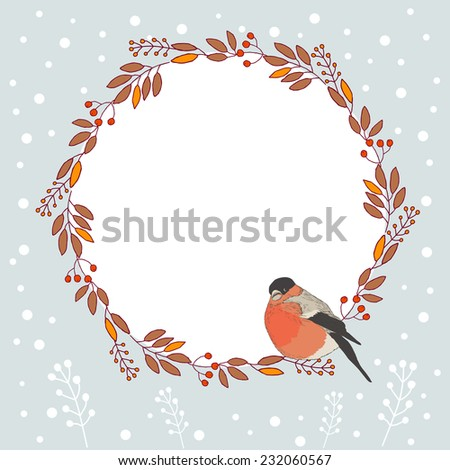 Christmas card with Finch and branches of mountain ash, with space for text. Vector illustration. - stock vector