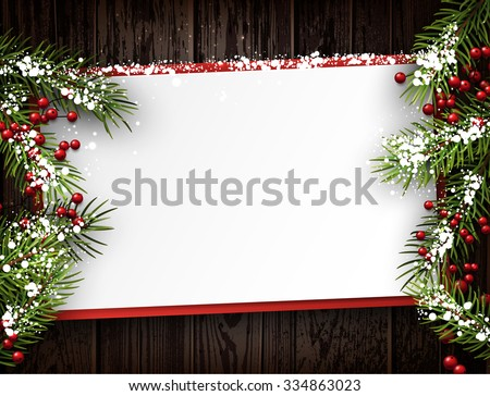 Christmas card with fir branches. Vector paper illustration. - stock vector