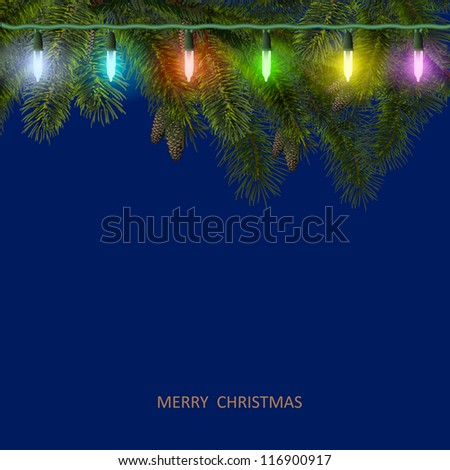 Christmas card with fir tree branch and colorful garland. Vector illustration - stock vector
