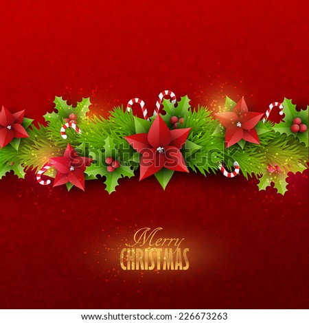 Christmas card with fir twigs and decoration elements - stock vector