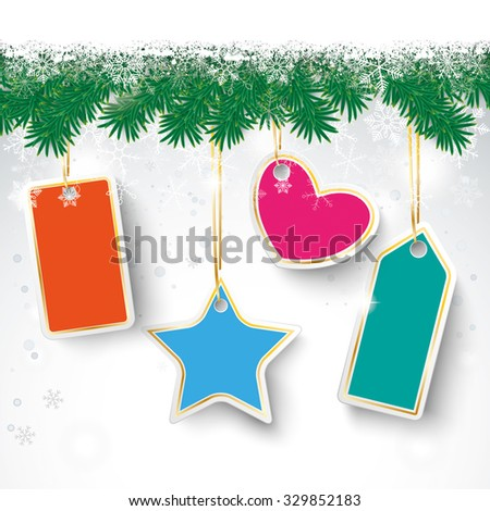 Christmas card with fir twigs, snow and price stickers. Eps 10 vector file. - stock vector