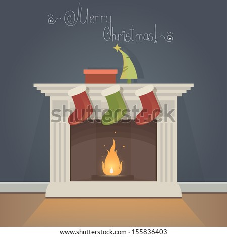 Christmas Card with fireplace and Christmas socks - stock vector