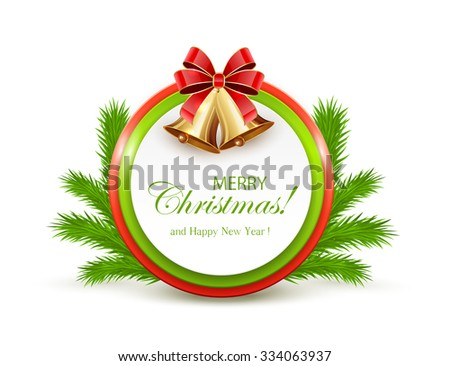 Christmas card with golden bells and fir tree branches, illustration. - stock vector