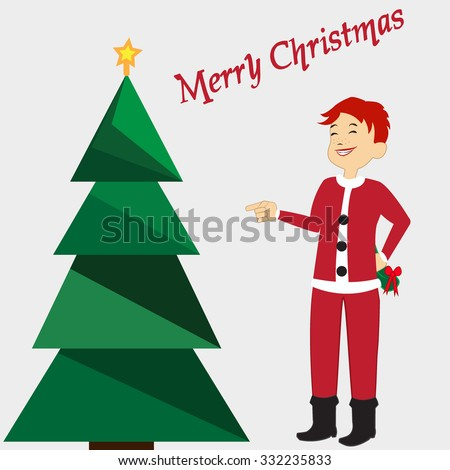 Christmas card with green Christmas tree with yellow star on grey background. Boy in Santa's costume. Merry Christmas Title. Vector illustration editable template. - stock vector
