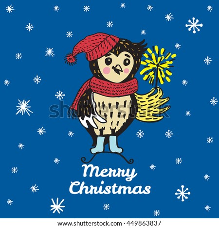 Christmas card with hand drawn Owl. Vector hand drawn illustration of Owl character on blue background. - stock vector
