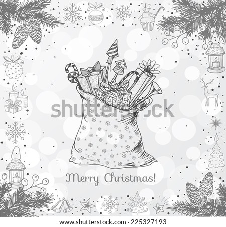 Christmas card with hand-drawn snowflakes, snowman, lanterns, candles and bag full of gifts on white glowing background. Vector sketch illustration. Doodle christmas card. - stock vector