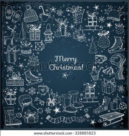 Christmas card with hand-drawn snowflakes, snowman, lanterns, gift boxes and candles on dark blue night background. Vector sketch illustration. Doodle christmas card.  - stock vector