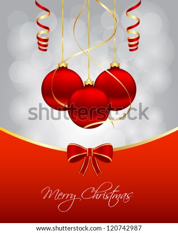 Christmas card with hanging balls - stock vector
