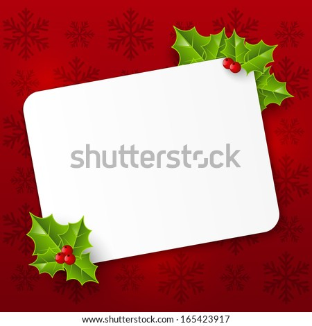 Christmas card with holly leaves - stock vector