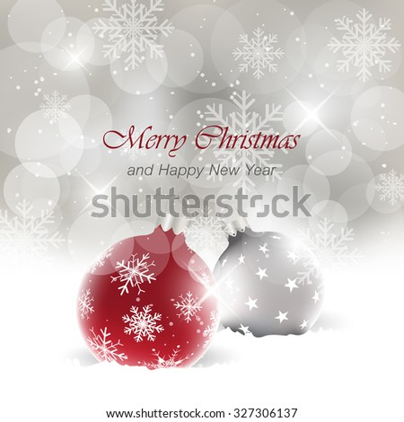 Christmas card with light effect and  bauble in the snow/vector greeting card - stock vector