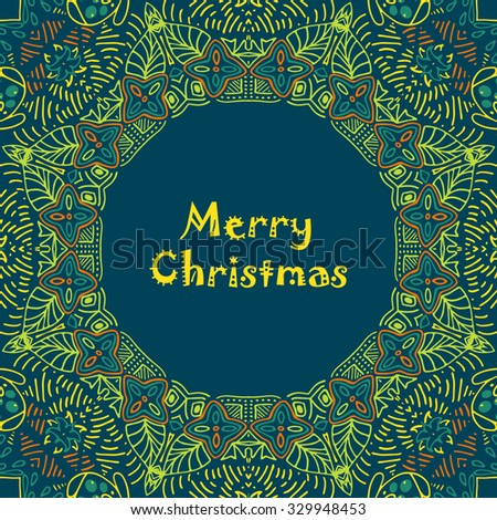 Christmas card with Merry Christmas text with decorations. Nature Floral ornament as a snowflake circle silhouette with berry, flower. Brown, green, yellow, orange colors. Vector illustration eps10. - stock vector