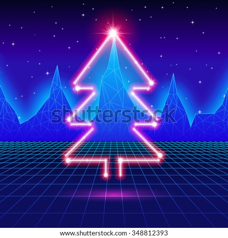 Christmas card with neon tree and 80s computer background - stock vector