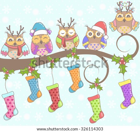Christmas card with owls and Christmas socks on a blue background - stock vector