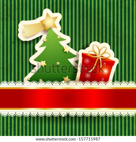 Christmas card with paper tree and gift, vector  - stock vector