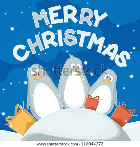 Christmas card with penguins - stock vector