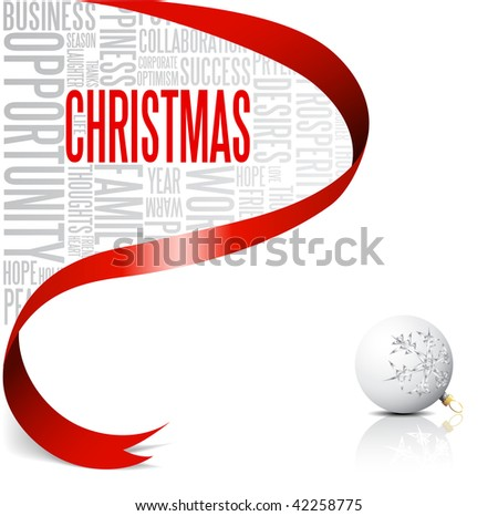 Christmas card with red ribbon and white bulb  (vector) - stock vector