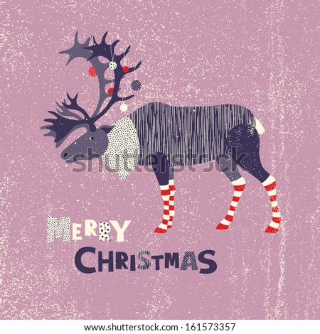 Christmas card with reindeer - stock vector