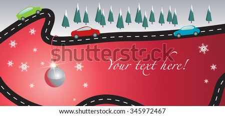 Christmas card with road and cars - stock vector