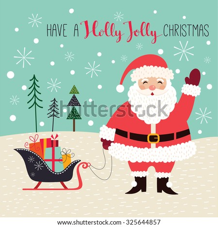 Christmas card with Santa A greeting card with Santa Claus in a winter landscape - stock vector