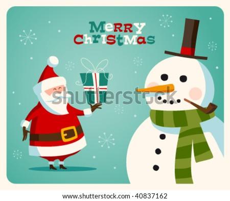 Christmas card with Santa and snowman. Vector. Editable - stock vector