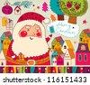 Christmas card with Santa Claus - stock vector