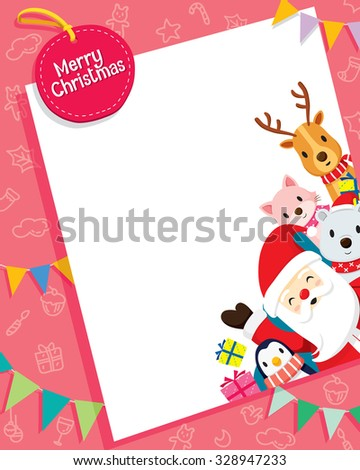 Christmas Card With Santa Claus And Animals, Merry Christmas, Xmas, Happy New Year, Objects, Animals, Festive, Celebrations - stock vector