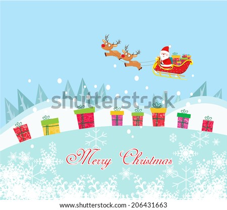 Christmas Card with Santa Claus and gift - stock vector
