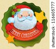 Christmas card with Santa Claus and Merry Christmas lettering. Vector illustration. - stock vector