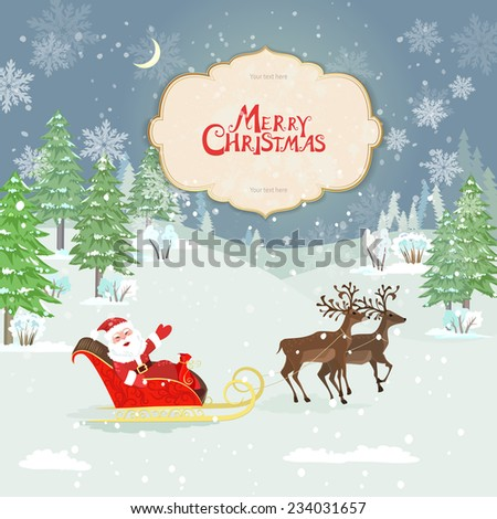 christmas card with santa claus in winter forest - stock vector
